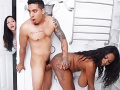 Ebony bombshell with big naturals gets fucked hard