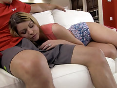 Taboo banging with a blond-haired busty beauty
