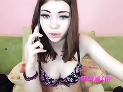 Coed Schoolgirl Pretty Woman Talking On The Phone - teenie girl
