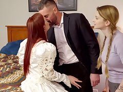 Dude fucks pretty ginger bride Danni Rivers and her lecherous girlfriend