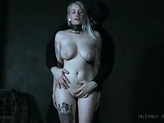 Busty blonde in savage maledom role of