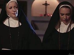 Libidinous coupled with sinful nuns can't stop eating each others yummy pussies