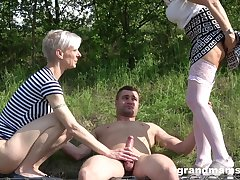 outside threesome in the wood is dazzling adventure for dazzling blonde