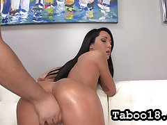 Ardent forthright haired murk Sabrina Banks brags off the brush lubed booty and gives HJ