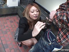 Kawaii and hilarious Japanese blowlerina Nao does her best as she sucks dick