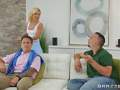 horny blonde Bella Rose spreads her legs for big cock measurement she screams