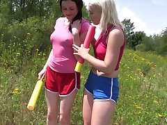 Two stunning girls are eating each others pussies wide the field wide broad broad daylight